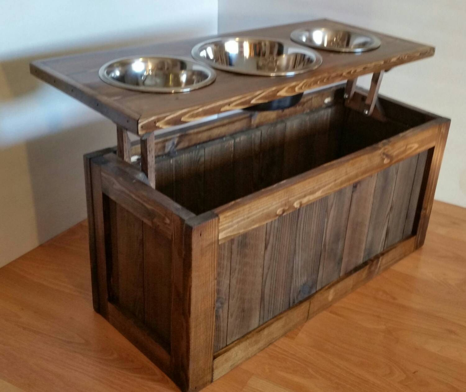 Raised Dog Feeder With Storage, 3 Bowl Dog Feeder, Keep Food Stored Beneath  Bowls