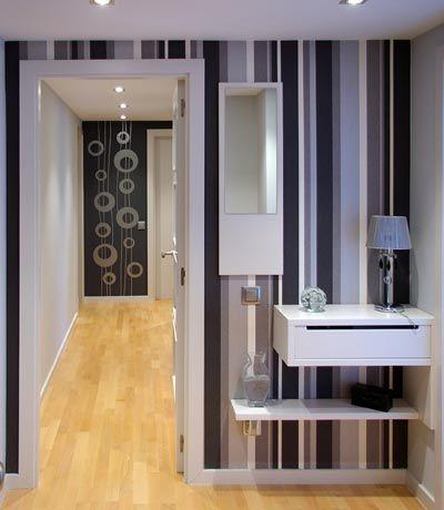 decorar el recibidor con papel pintado a rayas - Papel Pintado Recibidor