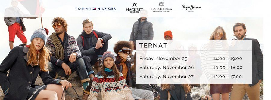 Shopping event Tommy Hilfiger - Hackett London - Scotch & Soda - Pepe Jeans | Tot -70%! -- Ternat -- 25/11-27/11