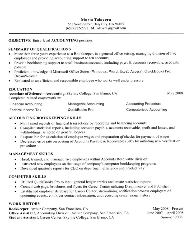 Free Resume Examples Self Employed