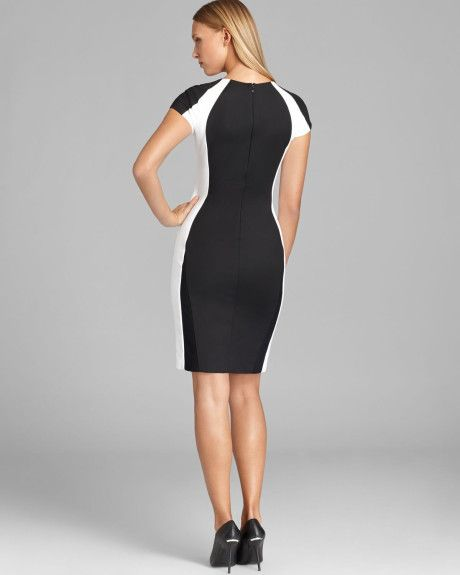 ff601456eb2 Women s White Color Block Cap Sleeve Sheath Dress
