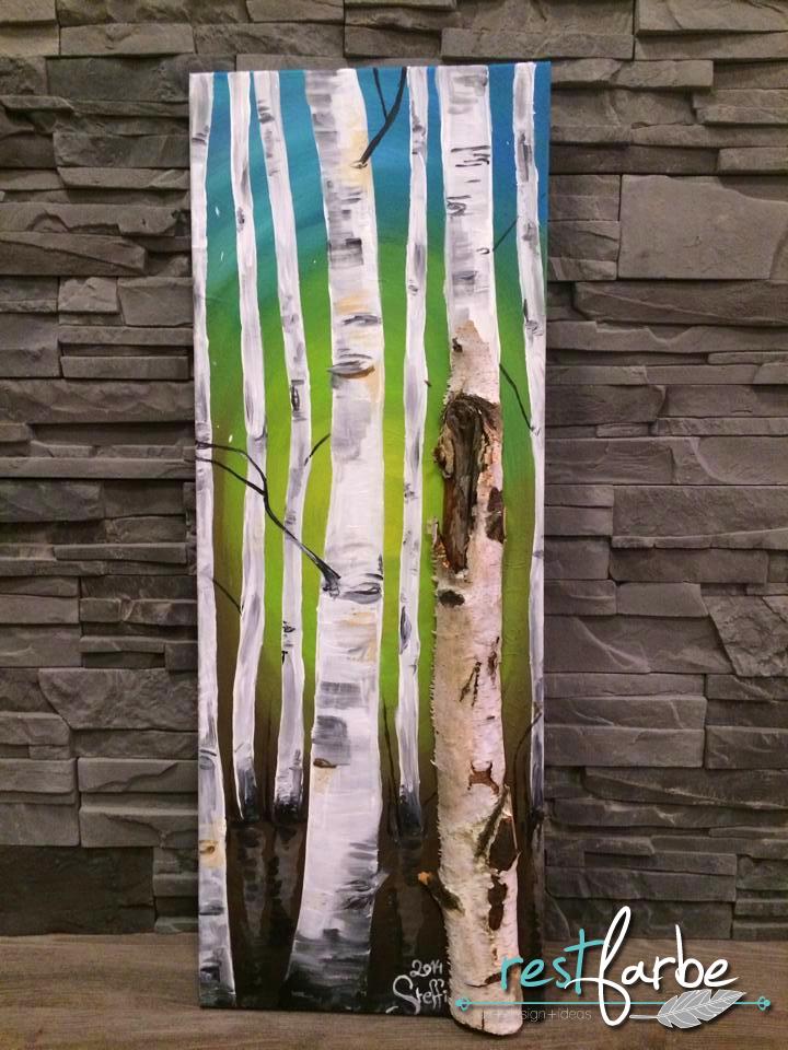 Restfarbe acrylbild mit echtem birkenstamm bilder for Birkenbaum deko
