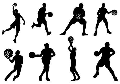 basketball playing silhouette vector silhouettevector net sports rh pinterest com basketball silhouette vector free download basketball team silhouette vector free