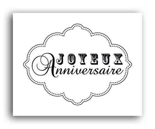Tampon bois joyeux anniversaire etiquette baroque - Joyeux anniversaire a colorier ...