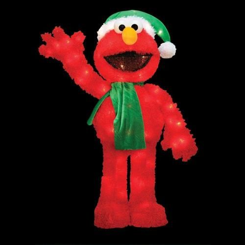 32 pre lit soft faux fur sesame street elmo christmas decoration clear lights - Sesame Street Outdoor Christmas Decorations