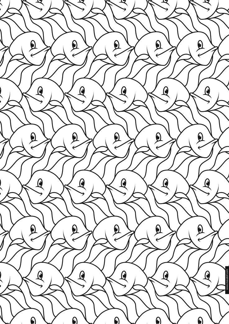 Escher patterns | Kunstkleurplaten | Pinterest