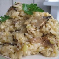 Risotto with Porcini Mushrooms, Leeks and Gruyere