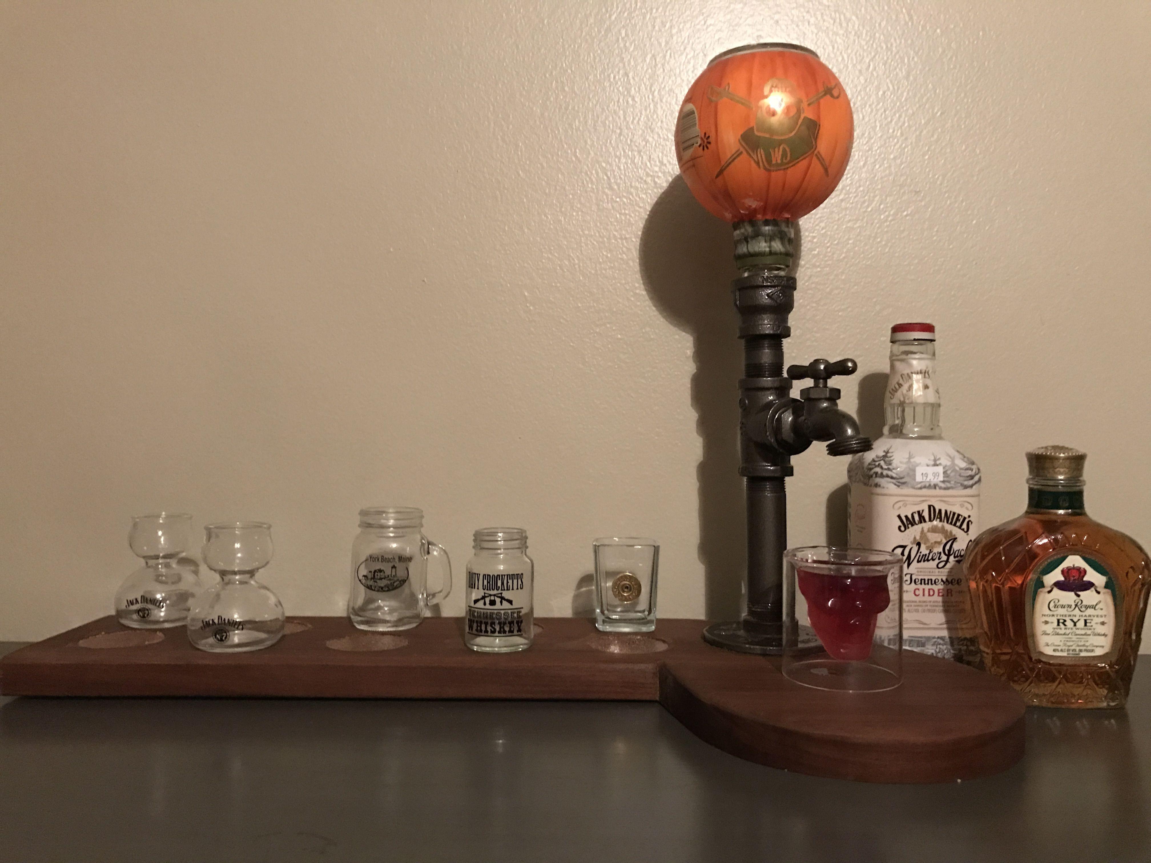 Bar top shots display and dispenser DIY