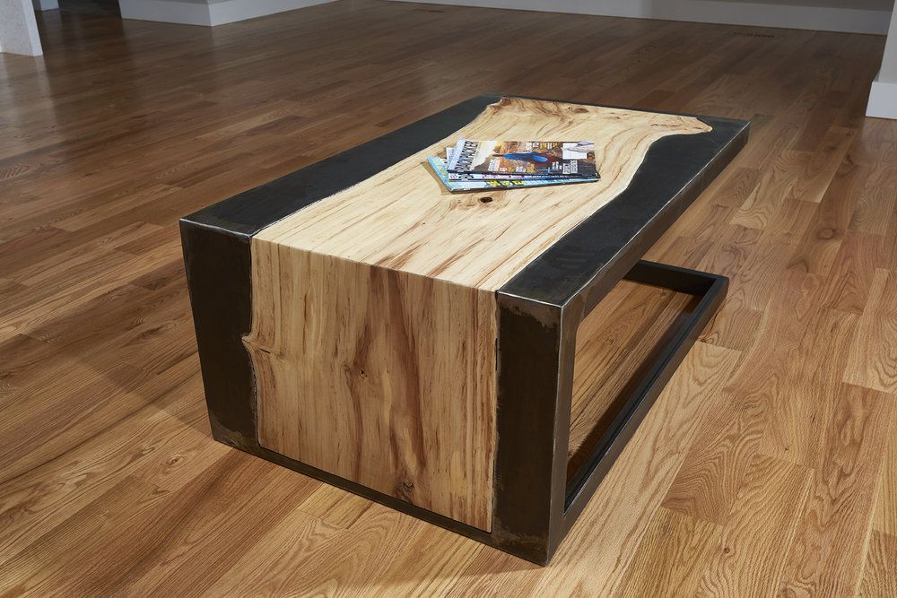 The Tillis Table Urban Salvaged Lived Edge Slab With Hand Cut Metal Framing To Contour Wood S Natural Outline