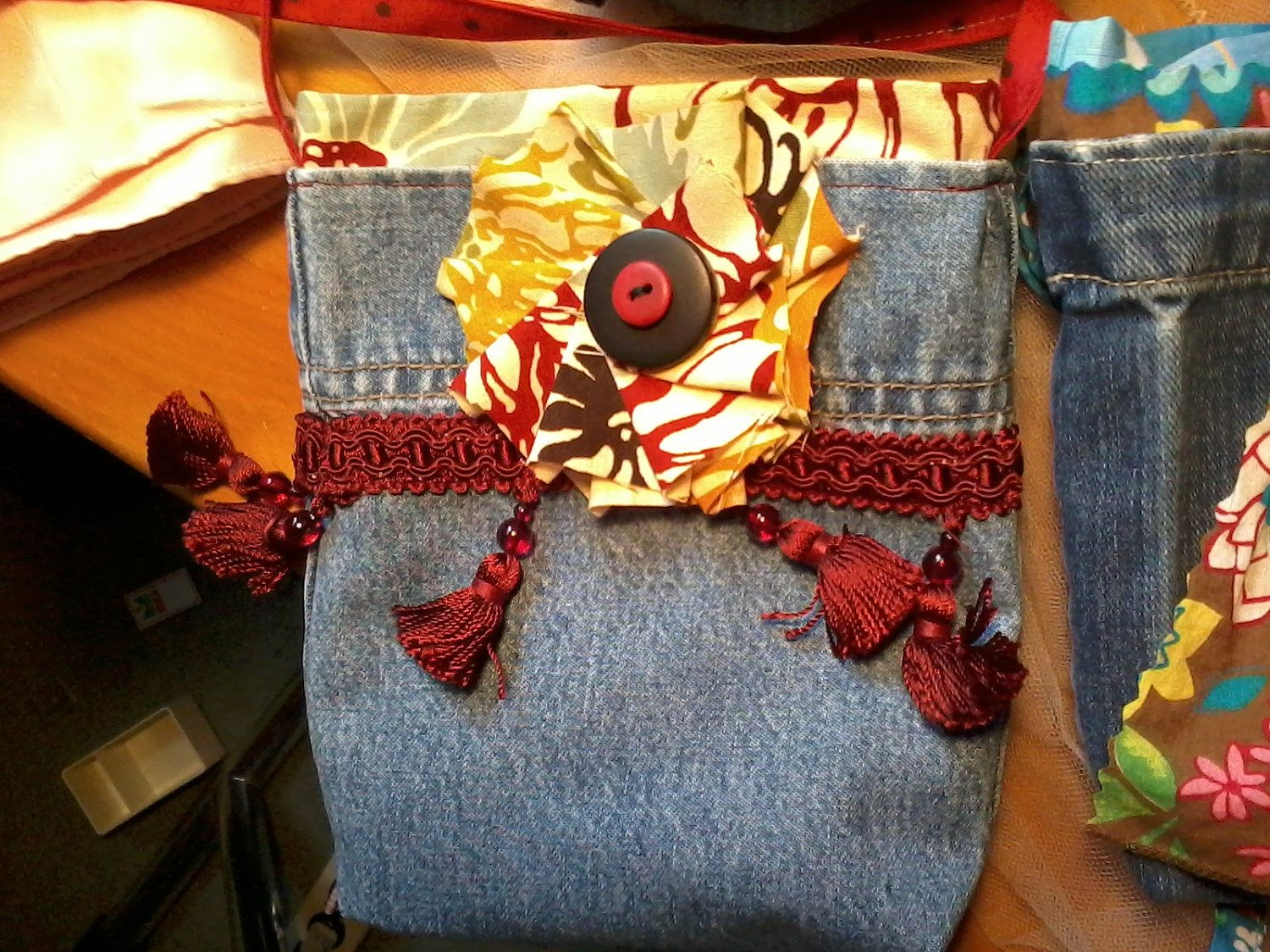 Toddler Blue Jean Purse Floral Gold Orange Red Dark Brown Blue with Green Leaves Red Brown Polka Dots Strap with Fabric Flower and Button.. $20.00, via Etsy.
