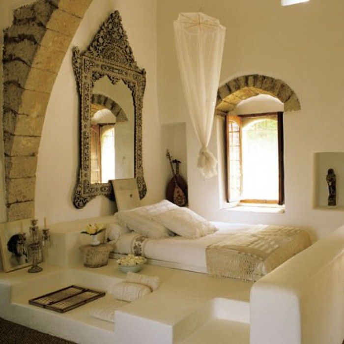 Oriëntaalse Arabische Marokkaanse slaapkamer. Prachtig ...