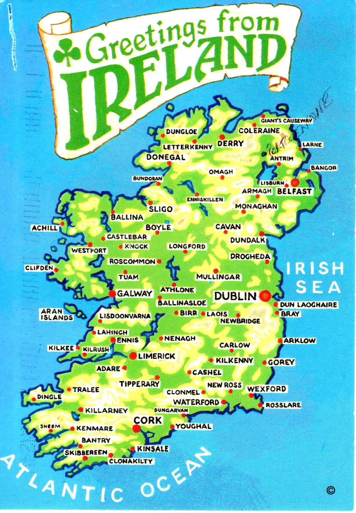 Map On Postcard Ireland