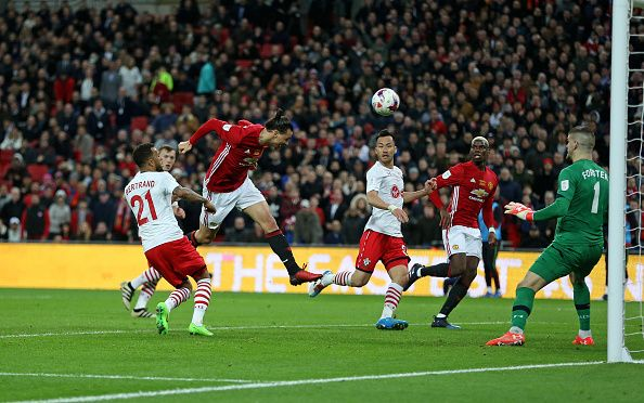 Manchester United's Zlatan Ibrahimovic scores his sides third goal during the EFL Cup Final match between Manchester United and Southampton at...