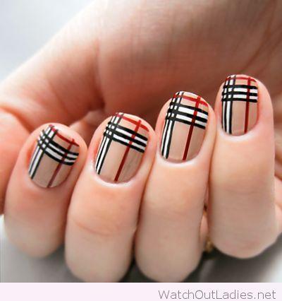 Perfect Burberry Nail Art