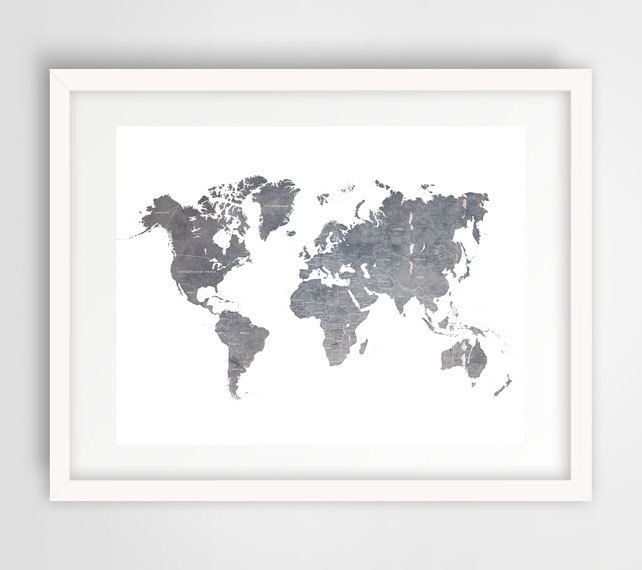 World map poster world map map of the world art posters world grey world map wall print gray world map world map poster home decor office decor grey gumiabroncs Gallery