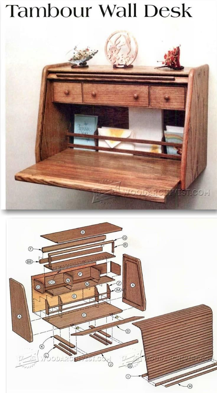 tambour wall desk plans - furniture plans and projects