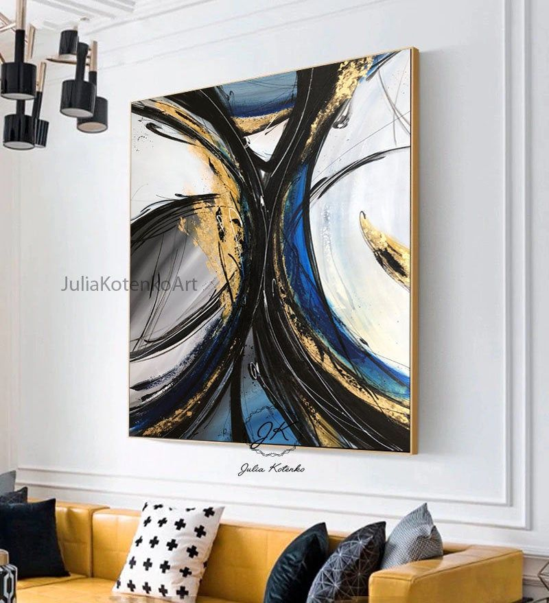 Gold Leaf Painting Black And White Abstract Canvas Big Canvas Wall Art Blue And Gold Painting Lar Large Abstract Wall Art Gold Leaf Painting Painted Leaves