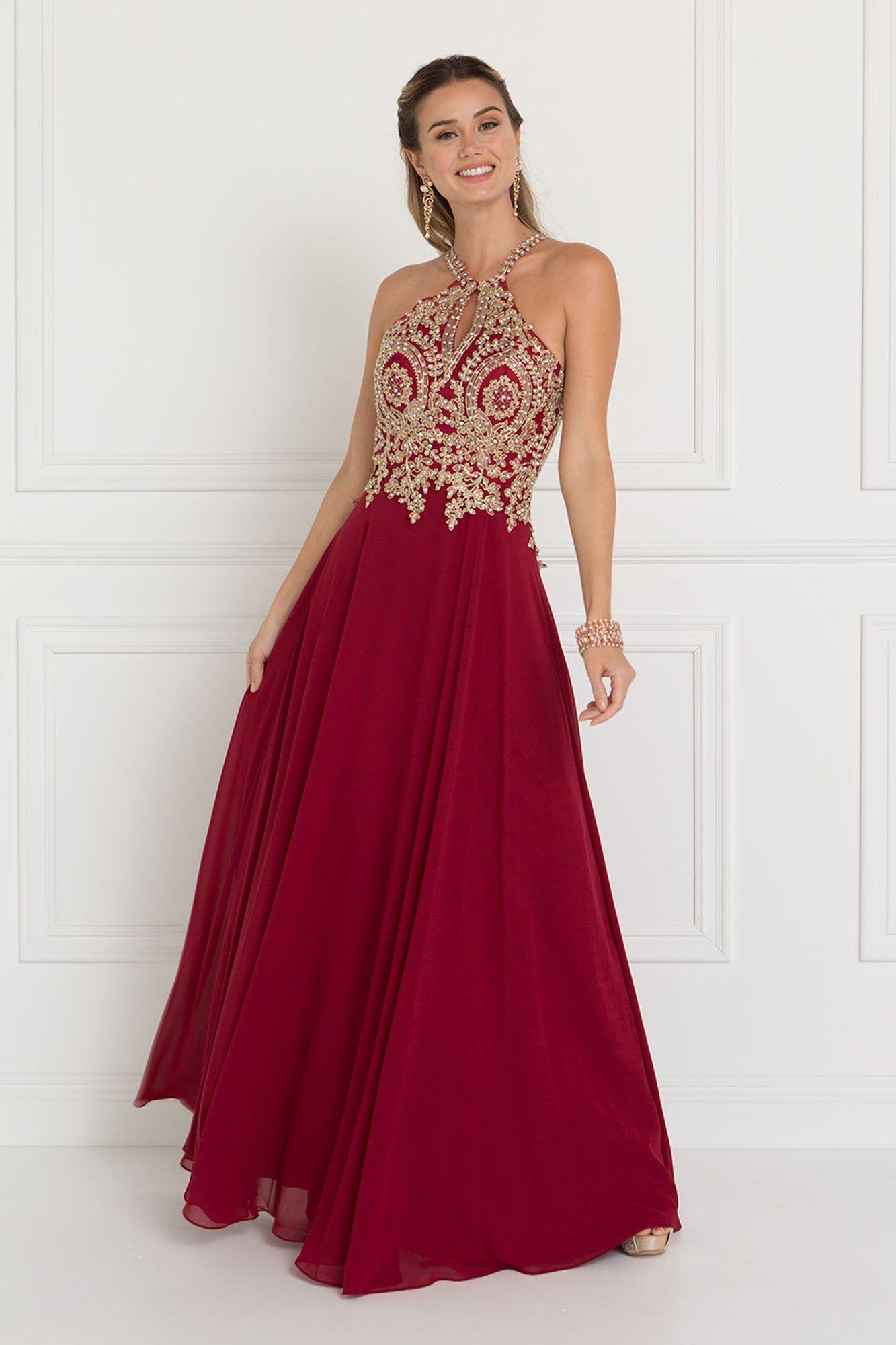 65b14fd2011 Burgundy long prom dress GLS 1526 in 2019