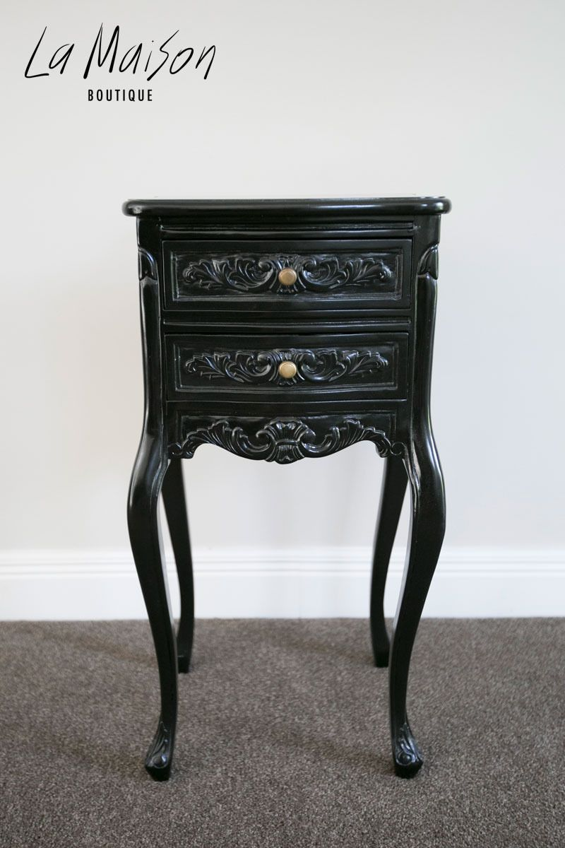 La Maison Boutique In Stock Now Bedside Table Black 280 00 Http Www Lamaiso Shabby Chic Style Furniture Black Bedside Table French Inspired Furniture