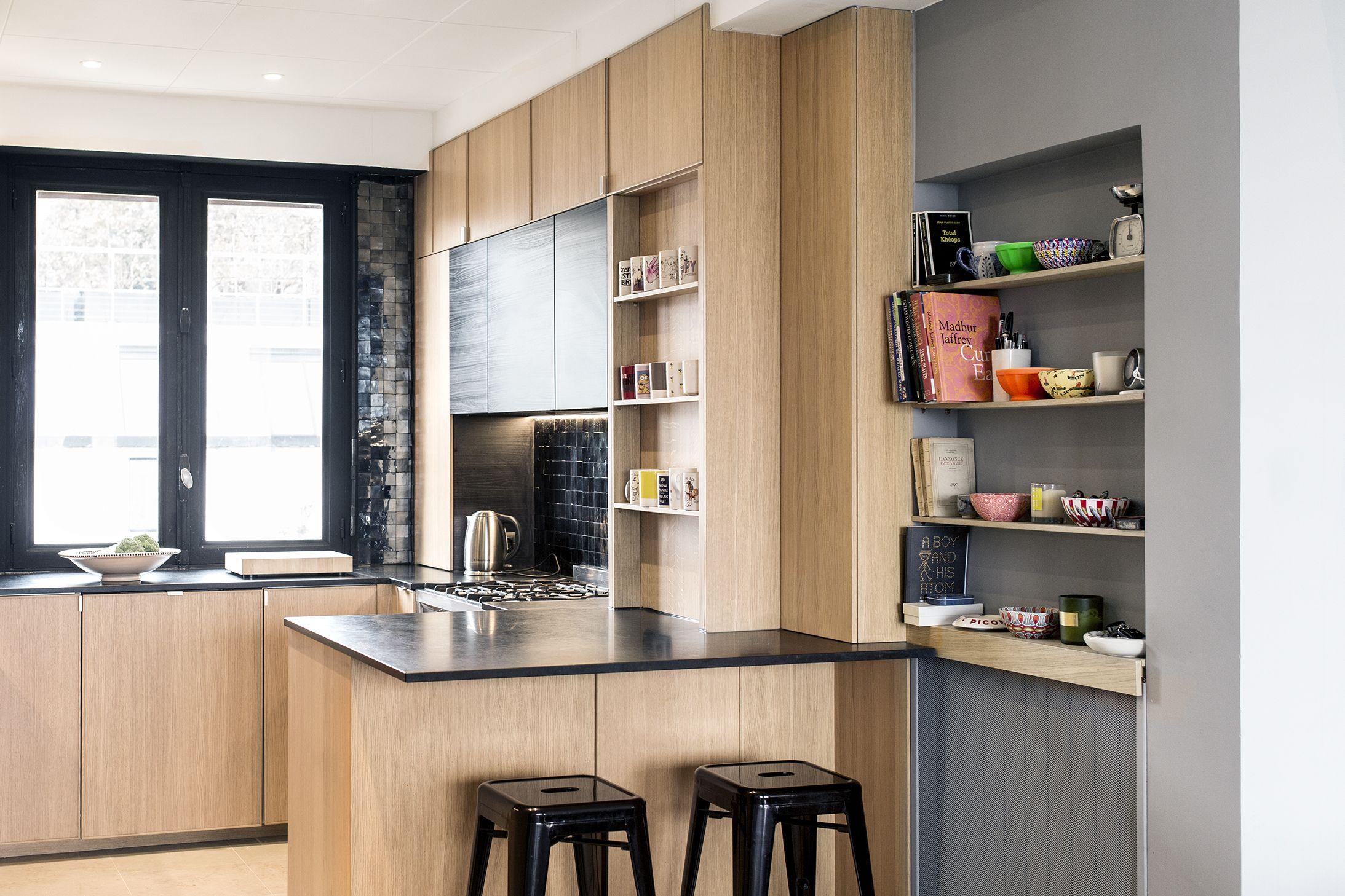 Cuisine Chene Et Noire Zelliges Et Granit Noir Cuisine Chene Decoration Maison Granit Noir
