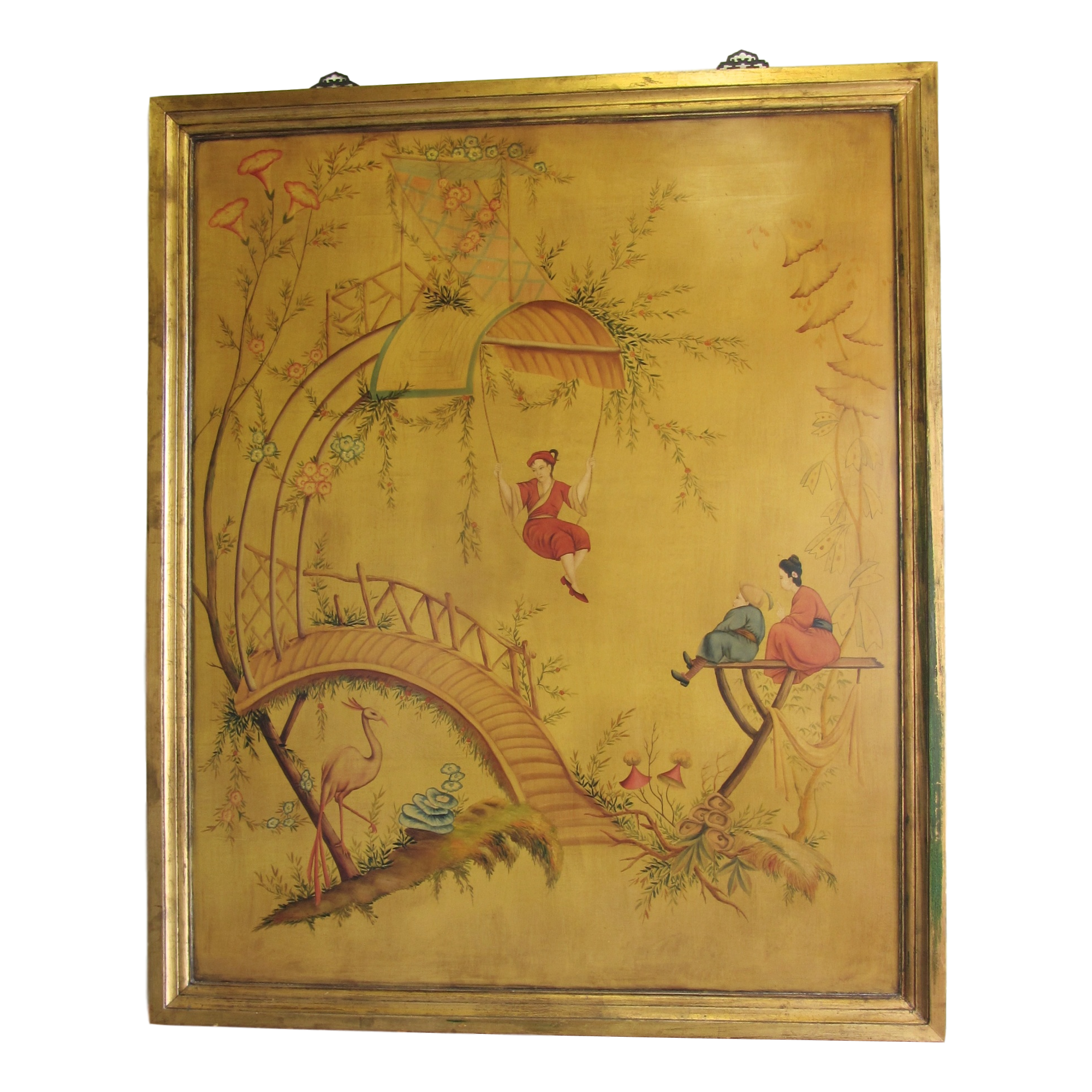 Large Vintage Painted Chinoiserie Panel | Chinoiserie, Wall spaces ...