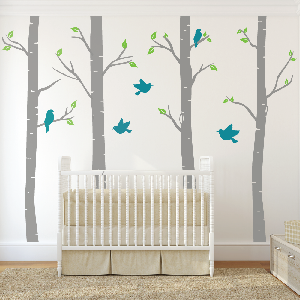 Nursery Wall Stickers Tree Color The Walls Your House Birch Decals With  Birds Wallboss