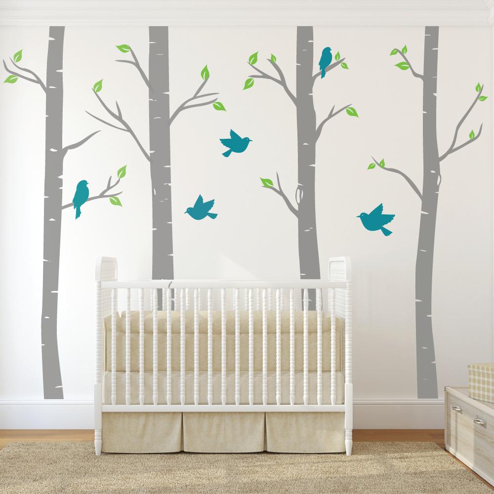 Nursery Birch Trees With Birds Wall Stickers Nursery Wall Decals