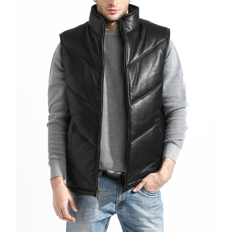 Chevron Bubble Vest // Black Bubble vest, Men fashion