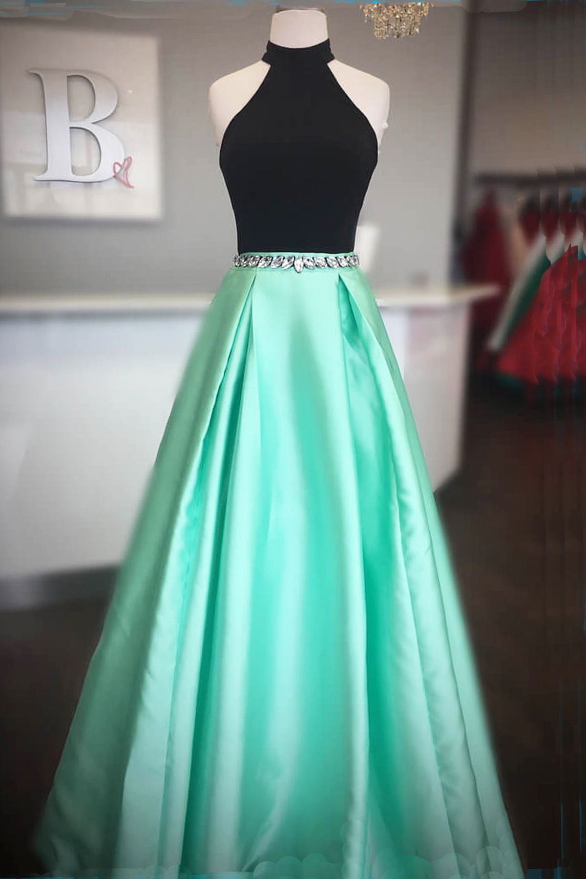 Simple black and mint satin long open back prom dress homecoming