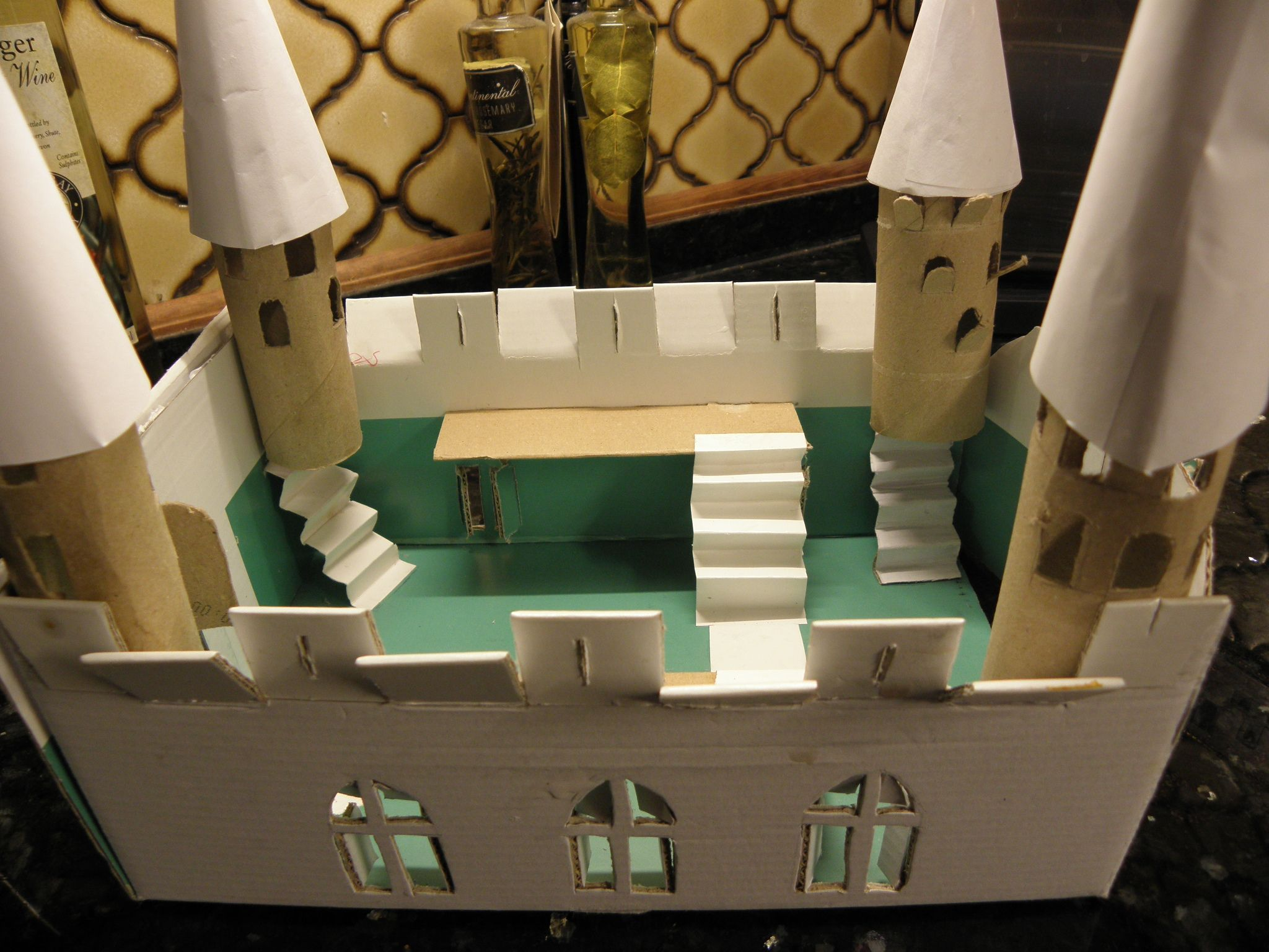 Shoe Box Dollhouse Craft For Kids: Medieval Castle, School Homework. Made Of Toilet Rolls