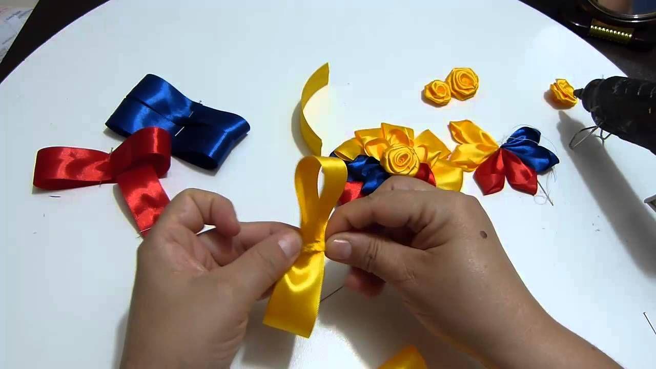 Como Elaborar Mo Os Tricolores En Cinta Faciles Para El Cabello  ~ Lazos De Cinta De Raso Paso A Paso