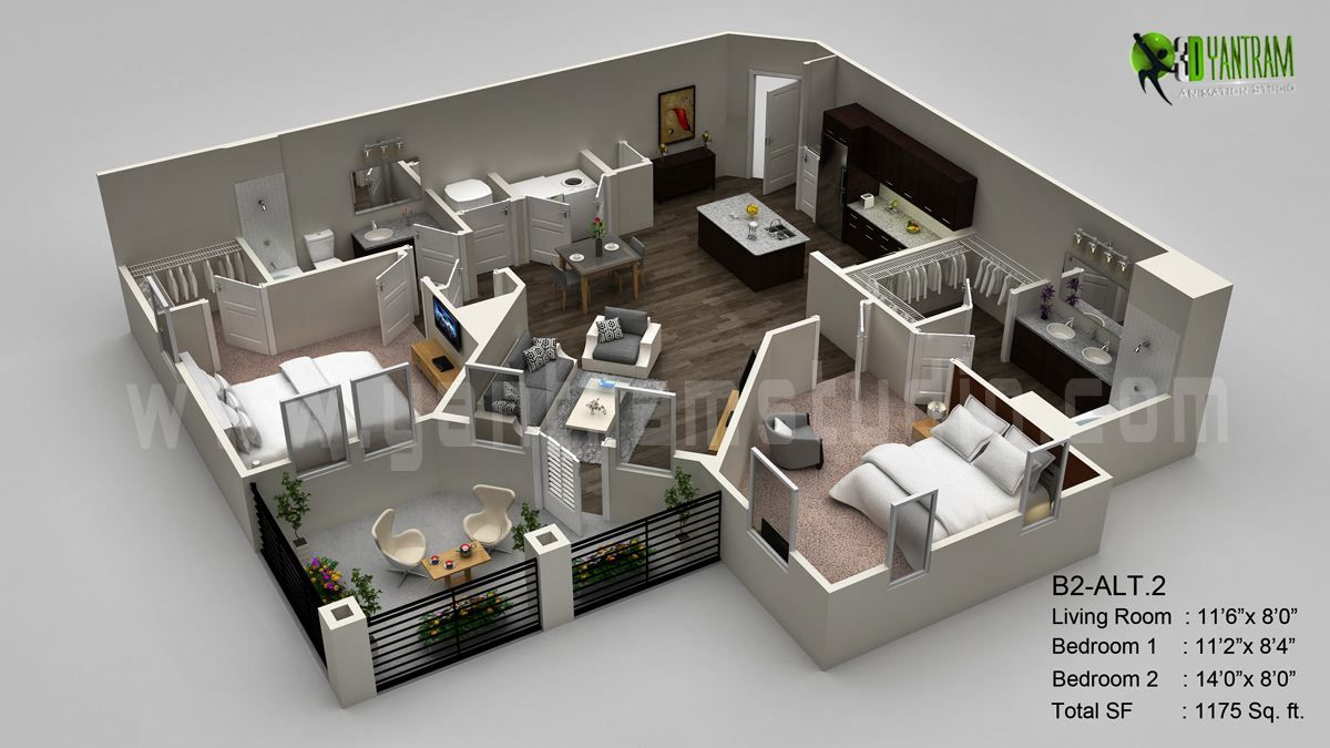 3d Floor Plan Visualization Residential Concept From 3d Yantram Architectural Design Studio Floor Plan Design Architectural Design Studio House Floor Plans