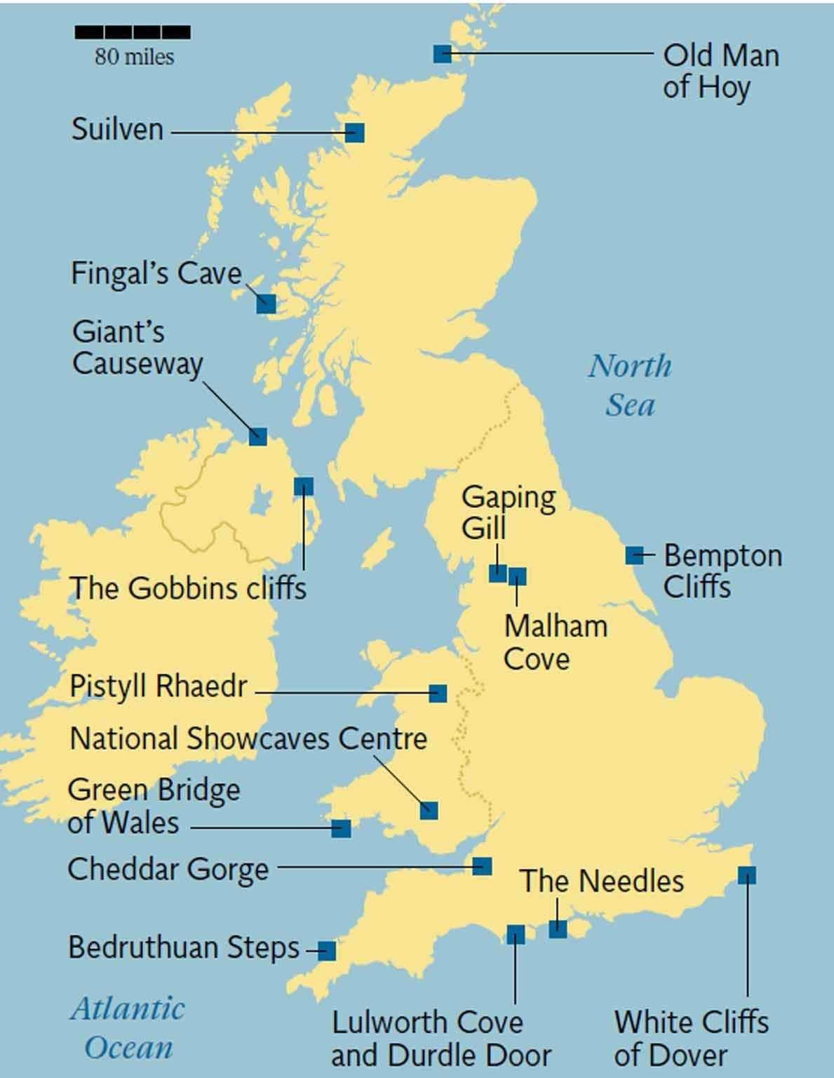 Natural wonders in the UK: From Giant's Causeway to Durdle ... on edinburgh castle map, fingal's cave map, great wall of china map, united kingdom map, english channel map, belfast map, giant causeway and rope bridge map, skellig michael map, machu picchu map, angkor wat map, you are here map, venice map, devils postpile national monument map, australia map, causeway coastal route map, carrick-a-rede rope bridge map, hadrian's wall map, leaning tower of pisa map, rock of gibraltar map, gros morne national park map,