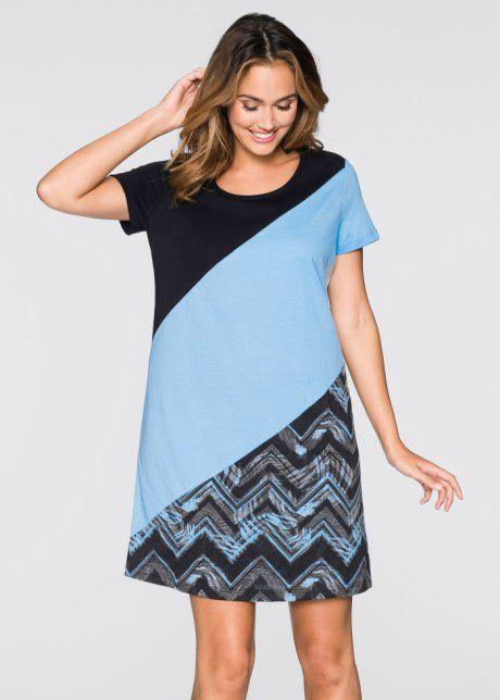 Nachthemd, bpc bonprix collection, zwart/lichtblauw/grijs gedessineerd