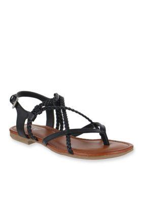 916796de4dc MIA Black Dannie Braided Flat Sandal