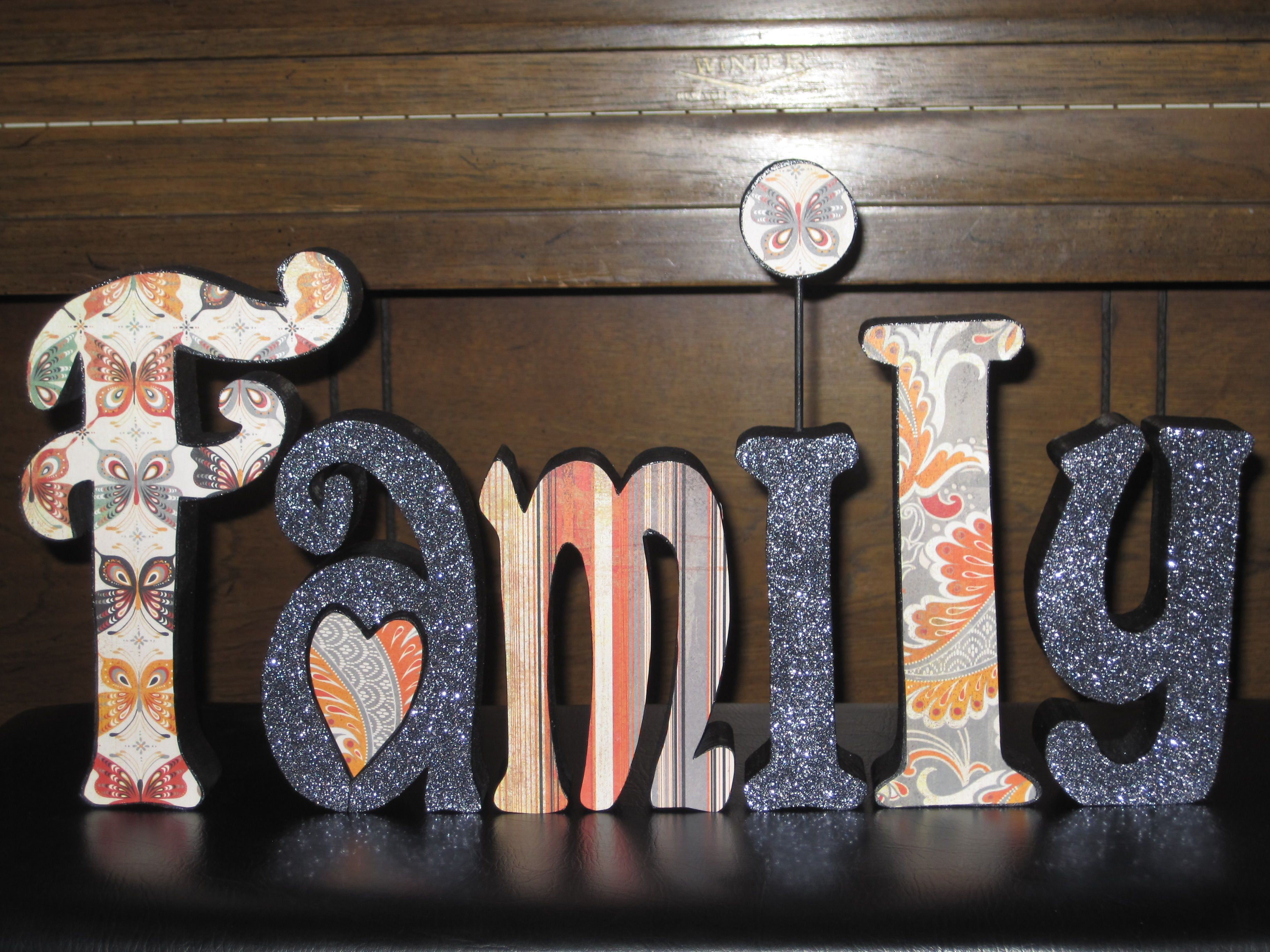 Family Wood Letters With Scrapbook Paper And Glitter Cricut Crafts Crafts Diy Gift