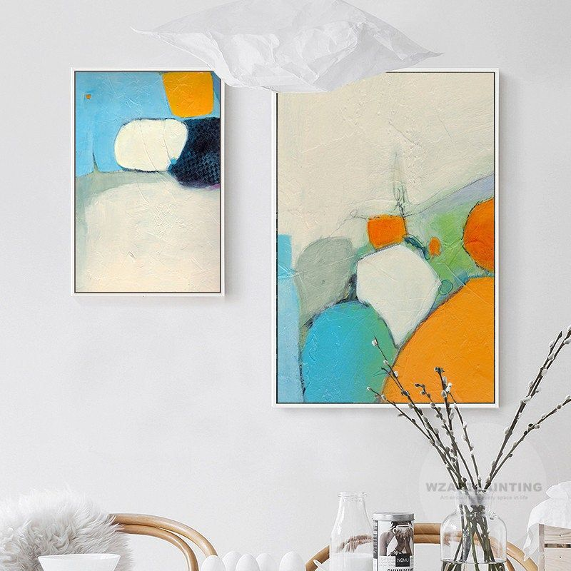 Set Of 3 Prints Abstract Orange Blue Print Painting On Canvas Framed Acrylic Painting Wall Art Pictures Ready To Hang Painting Orange Wall Art Canvas Painting