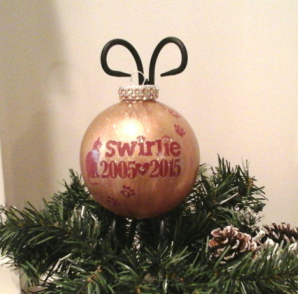 Christmas Pet Ornament, In Memory of Pet Name Ornament
