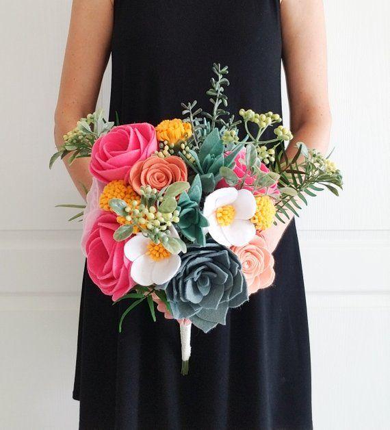 Bright Ranunculus And Succulent Felt Flower Bridal Bouquet Felt Heirloom Bouquet Felt Wedding Bou Felt Bouquet Felt Bouquet Wedding Felt Flower Bouquet