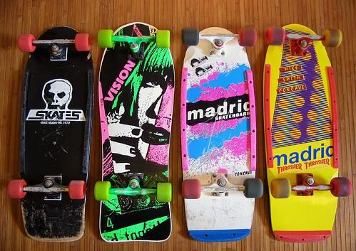 Vintage 80s Boards Fun Patterns All Very Different But Good Color Combinations Skateboard Skateboard Art Design Vintage Skateboards