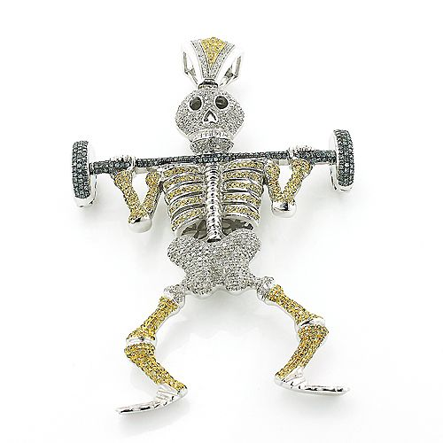 Diamond Barbell Weightlifting Skeleton Pendant Gold Hip Hop Jewelry