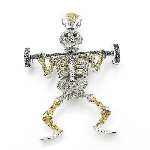Diamond barbell weightlifting skeleton pendant gold hip hop diamond barbell weightlifting skeleton pendant gold hip hop jewelry mozeypictures Gallery