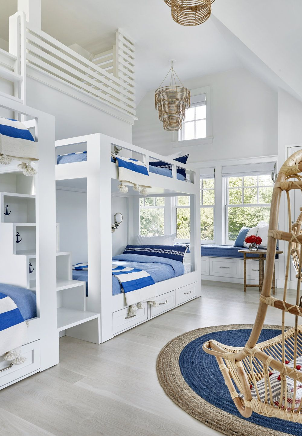Cute Bunk Beds In A Coastal Kids Room Nautical Beachy Chandeliers Bamboo Rattan Blue And White
