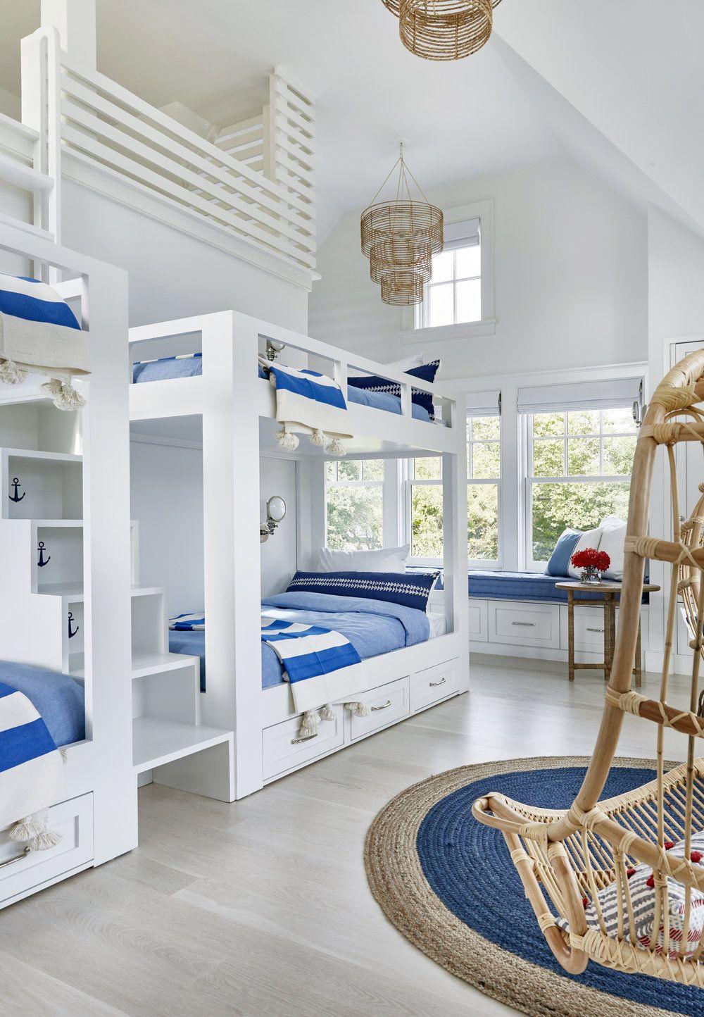 Cute Bunk Beds In A Coastal Kids Room