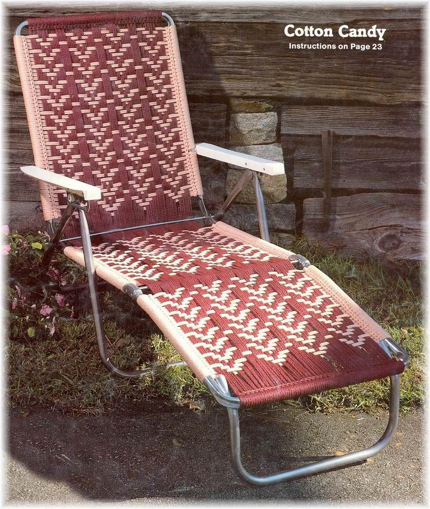Vintage Macrame Cording Lawn Chairs 14 Southwest Designs Chair Footstool Macrame