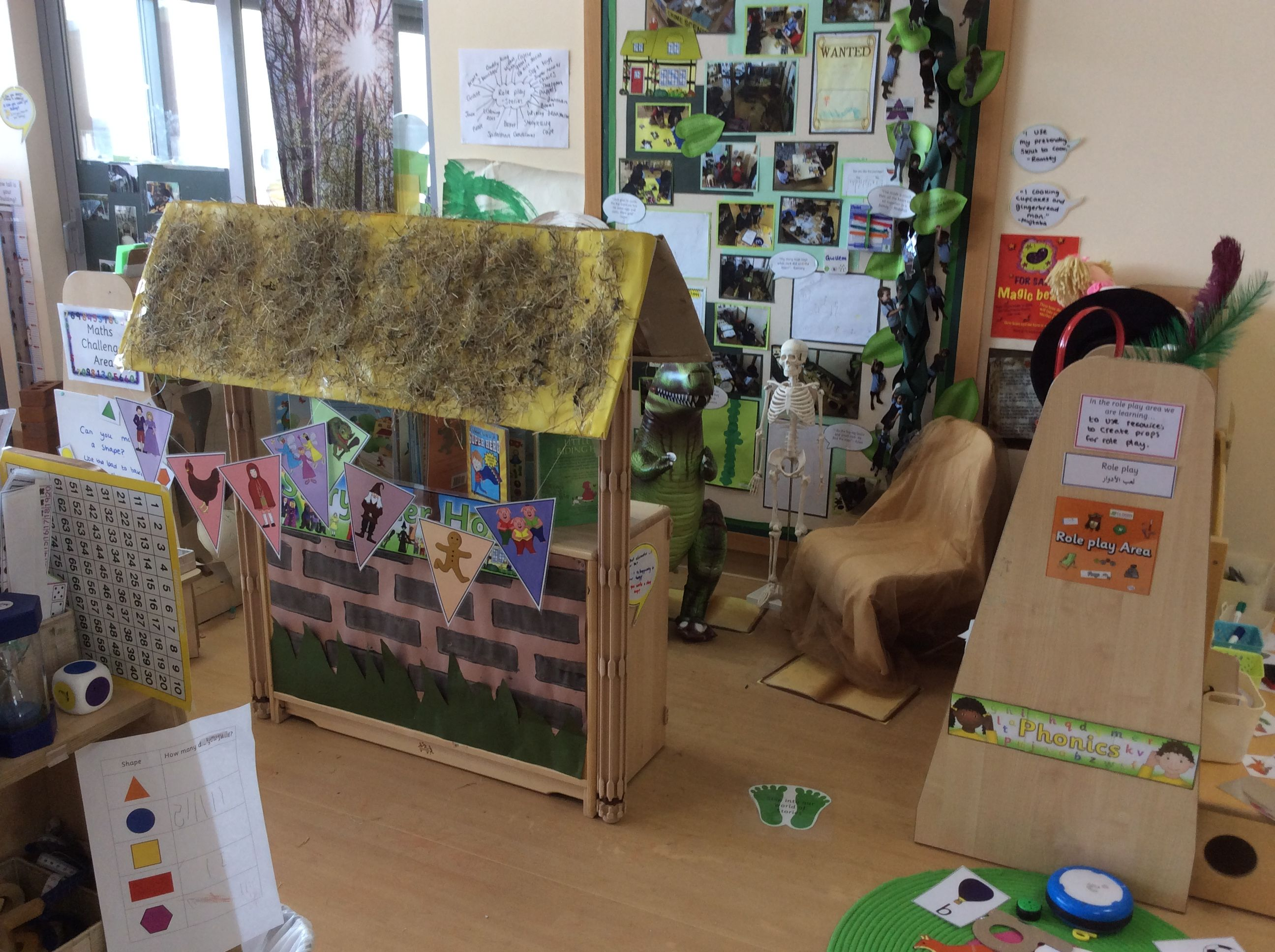 Storytelling cottage role play area with various props which were requested by the children. Children used the props to make up and act out their own stories. EYFS, FS1, Storytelling, Stories, Traditional tales, Role Play