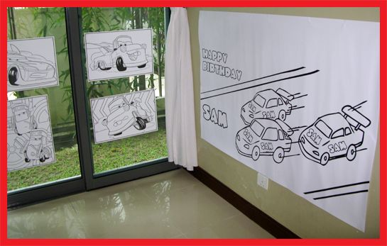 Race car party sams 4th birthday print a giant color page on blueprint paper cheap at staples for a fun malvernweather Image collections