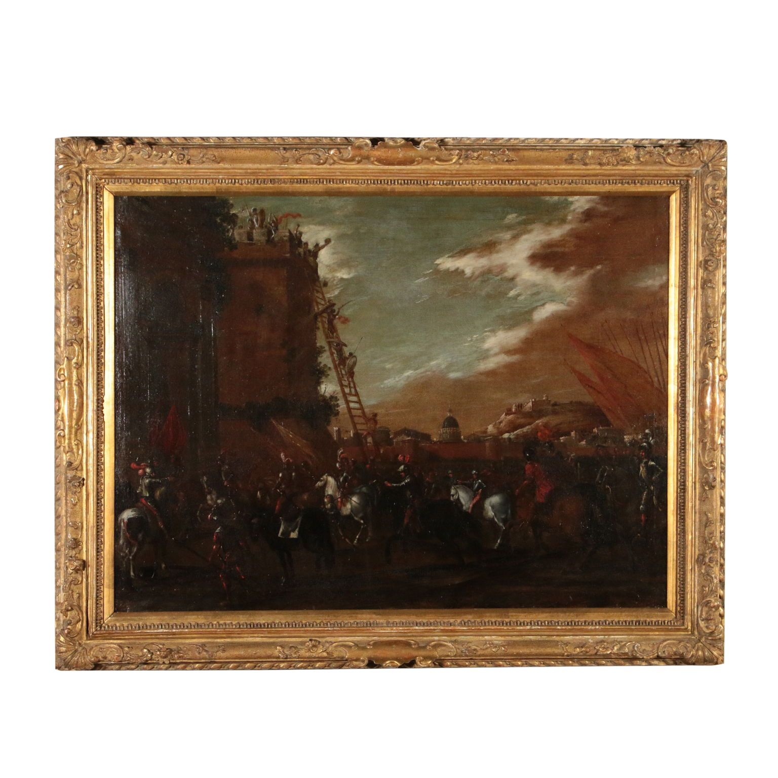 Siege Scene Carlo Coppola Setting of Oil Painting 17th Century