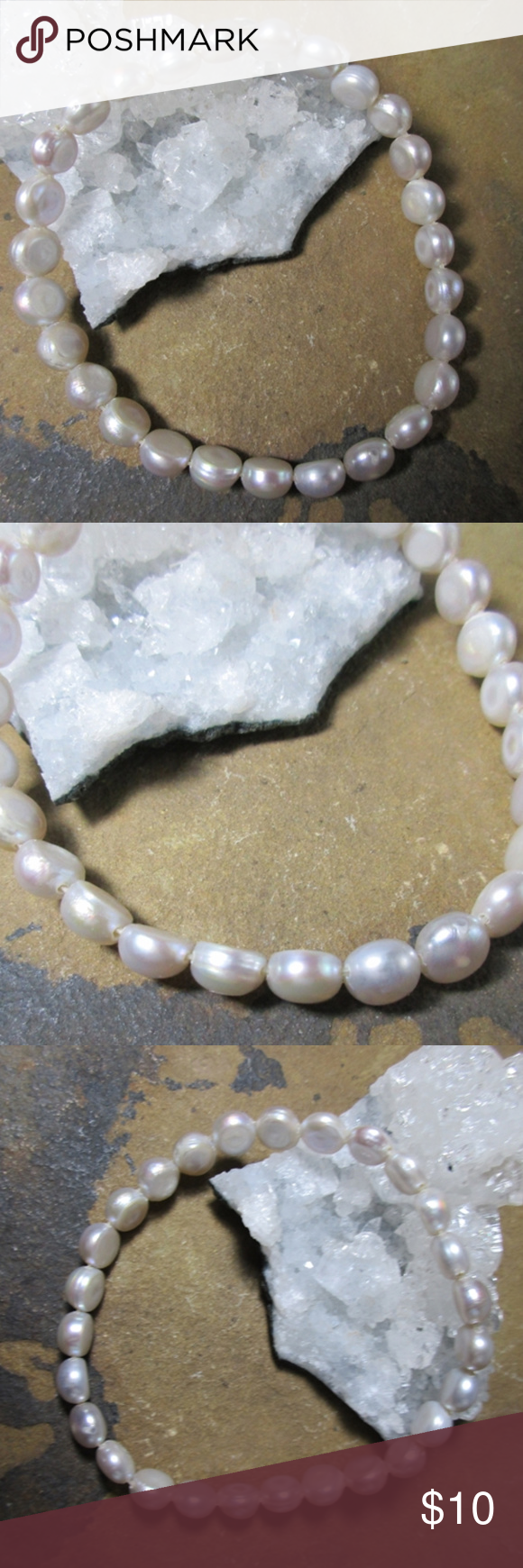 Pale Gray Flat Sided Button Pearl Stretch Bracelet Pale Gray Flat Sided Button Pearl Stretch Bracelet These Pearls Are A Pale Handmade Jewelry Bracelets Pearls