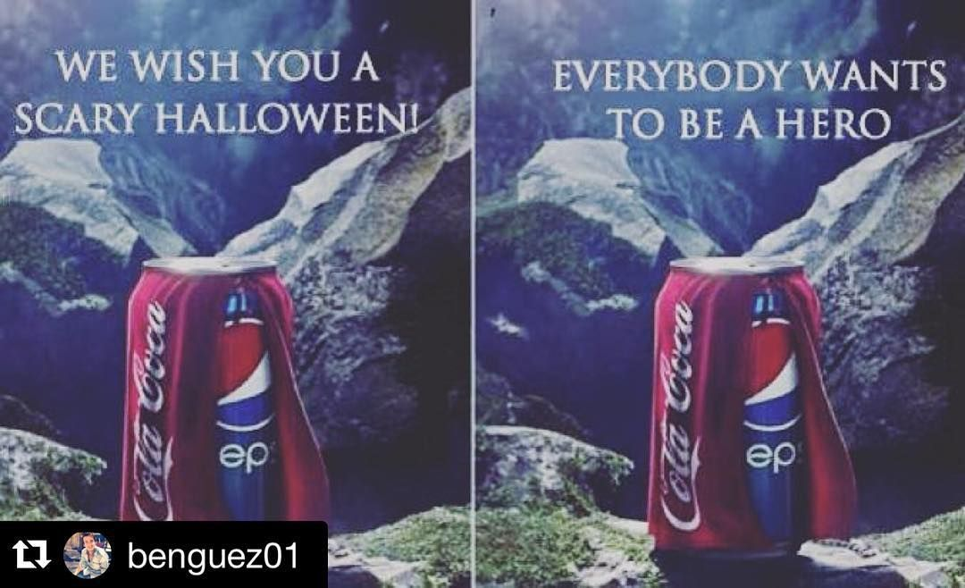 Lol  this made my morning  good one coca cola   #Repost @benguez01 with @repostapp.  That's what we call #Branding ---- Pepsi released the image on the left and Coca-Cola responded with the image on the right. Pepsis original ad is subliminal in that it makes the viewer think and chuckle a bit: its funny to suggest that getting a Coke when you wanted a Pepsi is scary. Coca-Colas response is perfect as well and becomes a great learning tool: sometimes the tagline really does make the image…